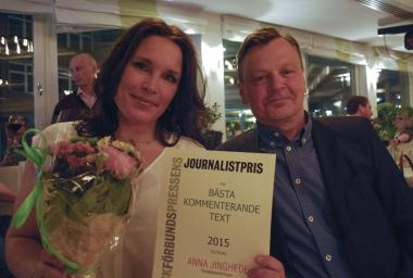 Anna Jinghede vann pris för bästa krönika