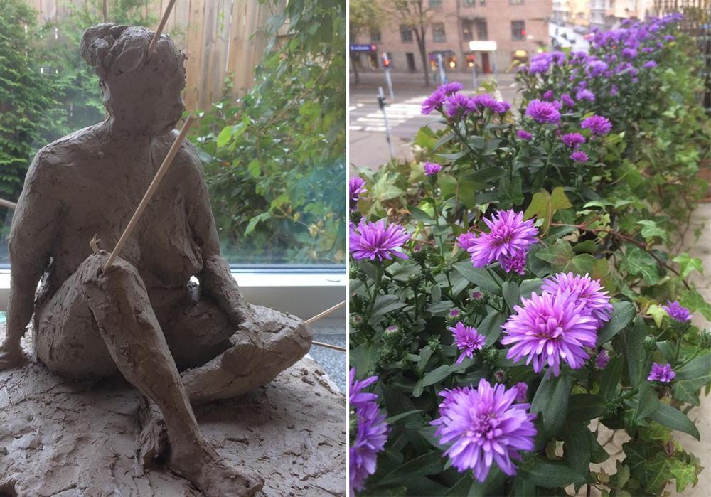Ny skulptur växer fram – höstfint på balkongen.
